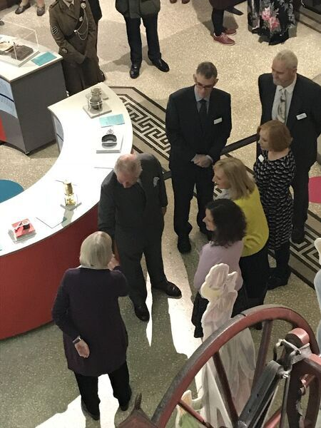 The Duke of Cornwall meets museum volunteers, the Volunteer Coordinator and the Learning and Inclusion Officer in the Main Gallery