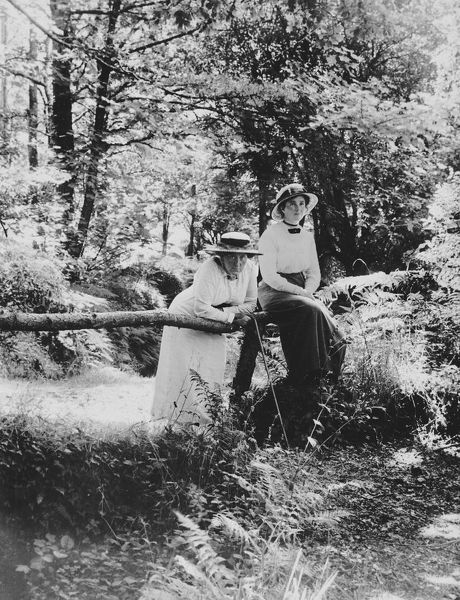Edith and Annie Mitchell in the woods, Luxulyan, Cornwall. 1914