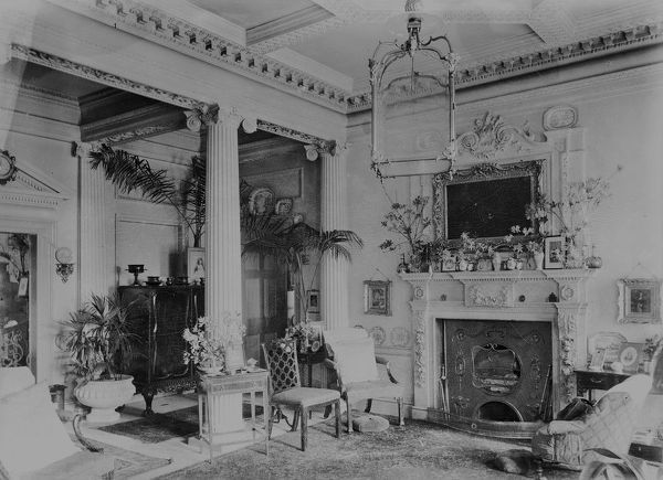 Entrance hall of Carclew House, Mylor, Cornwall. 15th March 1912