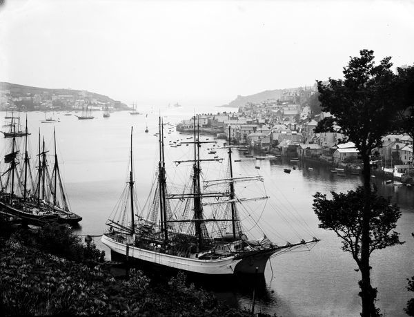 A view from Hall walk of various sailing ships moored in Fowey harbour with Fowey town and Polruan in the background. The white hulled ship in the foreground is the barquentine Nordstjernan of Fiskebackskil, Sweden. Built 1870 by A. Brodin at Gefle