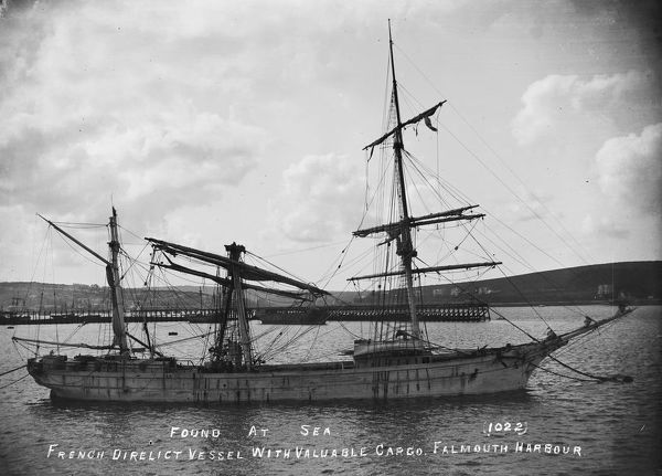 The wooden three-masted French registered barque Magatlan brought to Falmouth harbour after being abandoned at sea and picked up by a British steamer