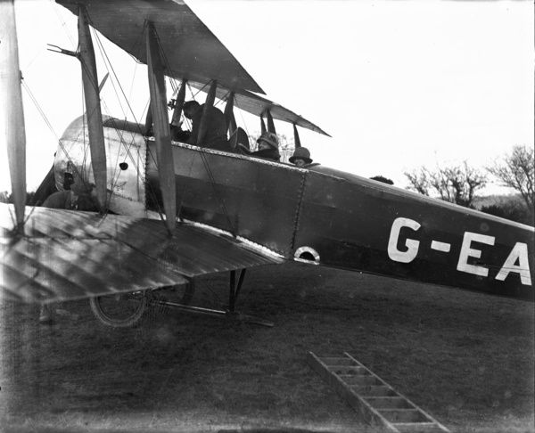 Grounded biplane, Cornwall. 1924