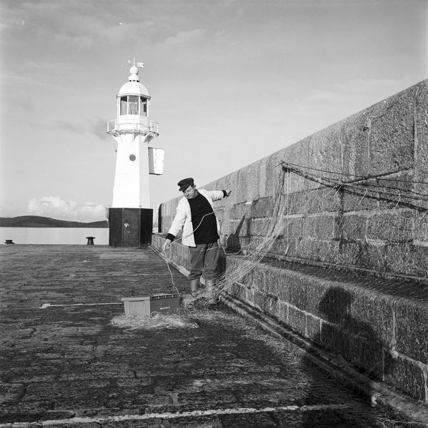 The harbour light, Victoria Pier, Mevagissey, Cornwall. 1982
