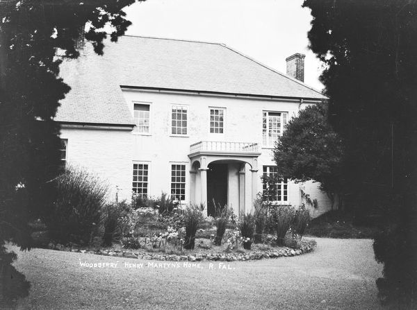 "A front view of Henry Martin's home, ""Woodbury"" at Woodbury Point on the River Fal. Note this is spelled as ""Woodberry"" on the original glass plate negative. Henry Martin (18th February 1981-16th October 1812) was an Anglican priest"