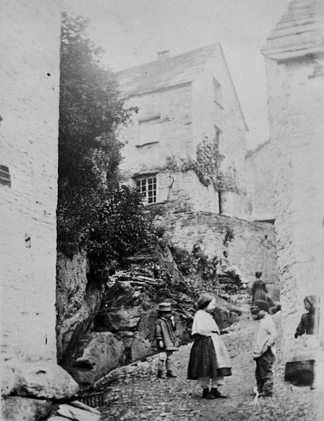 Houses on the hillside, Polperro, Cornwall. 1860-1870s