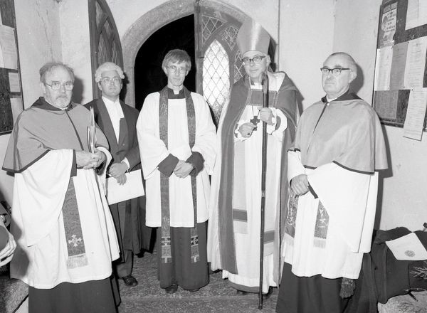 At the installation service of the Vicar of Lanlivery are, from left to right: Rev. Brian Anderson, Rural Dean; Martin Follett, Diocesan Registrar; Rev. David Keighley, new Vicar; Rt. Rev. Richard Llewellin, Bishop of St Germans; George Temple, Archdeacon of Bodmin