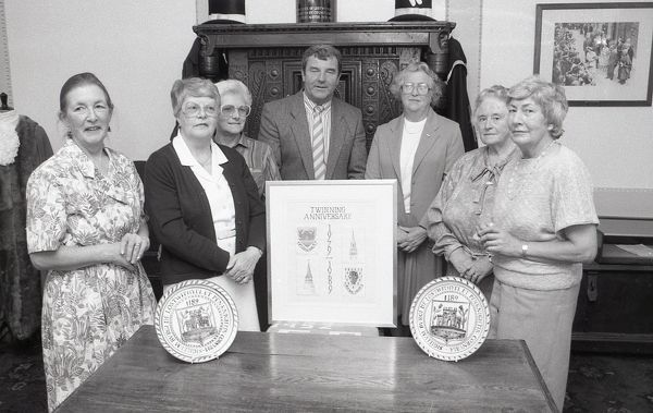 The St Austell branch of the West Country Embroiderers present an embroidered picture to Lostwithiel Twinning Association, as part of the association's 10th birthday celebrations. Later in the year it will be further presented to the town of Pleyber-Christ in Brittany