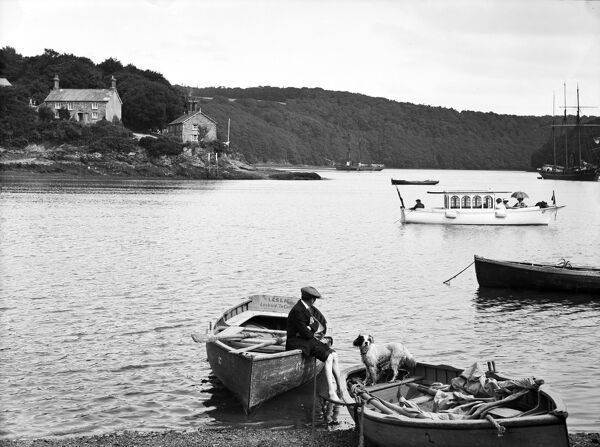 View of the river at Malpas. The ferry boat 'Leslie', licensed to carry 11 passengers, can be seen in the foreground. 'L'Oiseau Blesse' in the middle distance. Two topsail schooners, one possibly the vessel 'English' in the background. Photographer