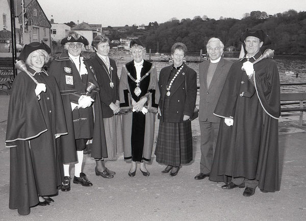 After the Mayor Making ceremony, the civic party gather on the town quay