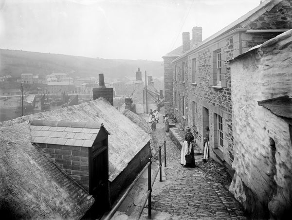 North side of the harbour, Mevagissey, Cornwall. 1909