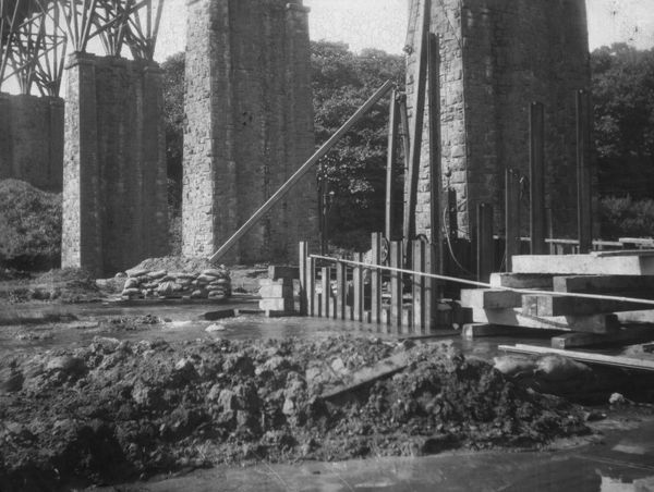 A view of Brunel's old Carnon Viaduct showing the sinking of the caisson for the new pillars during the initial stage of construction