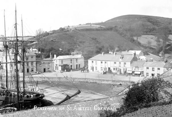 Pentewan harbour and village, St Austell, Cornwall. Late 1800s