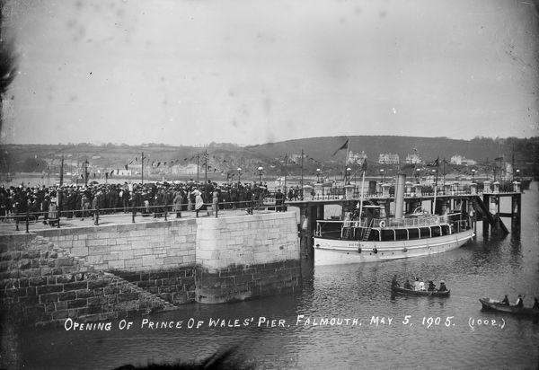 Crowds on the Pier for it's opening on 5th May 1905. The ship 'Victoria' alongside