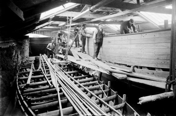 Roberts boat building yard, Mevagissey, Cornwall. 5th June 1909