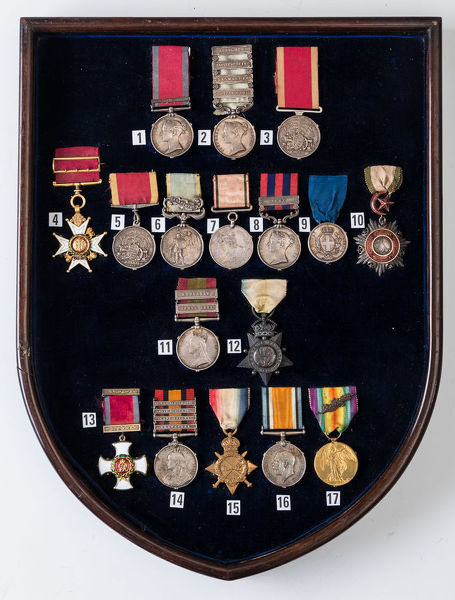 Shield with 17 Campaign Medals, 1807-1918