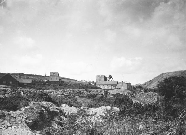 General view of mine, with two newly constructed administration buildings in the middle ground on the right