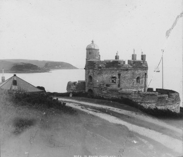 St Mawes Castle was built by Henry VIII in 1542 and held by Sir Richard Vivian in the Civil War. Glass lantern slide from a lecture, entitled 'Some Historic Cornish Beauty Spots', given by Cornishman and amateur photographer, Major Arthur William Gill