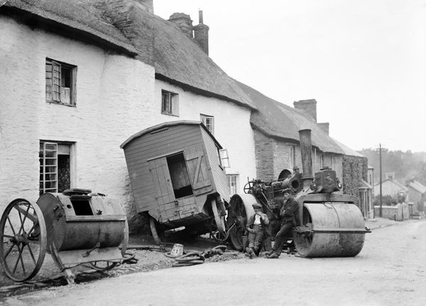 An accident where a steam roller from Aveling & Porter of Rochester careered backwards into a house