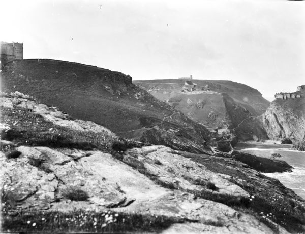 View from north side of island, with winze (connecting frame for underground mine) and church in distance. Photographer: John Charles Burrow