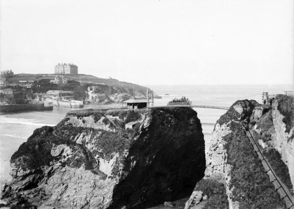 A scene looking towards the Headland and The Headland Hotel from a cliff top close to the island. Photographer: Arthur Philp