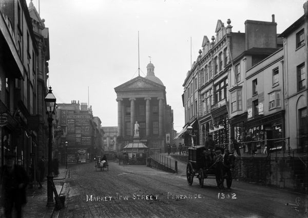 Top of Market Jew Street with Humphrey Davy's statue in the mid ground. Photographer: Arthur Philp