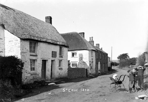 Trispen village street, St Erme, Cornwall. Early 1900s