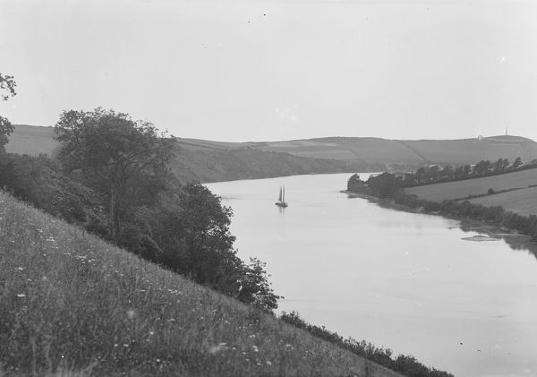 View over the Camel Estuary at high tide, St Issey, Cornwall. Early 1900s