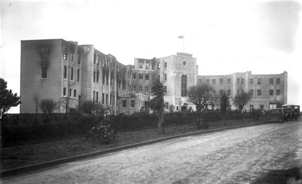 A view of the front of Carlyon Bay Hotel after the fire in 1931, St Austell, Cornwall. 27th-28th December 1931