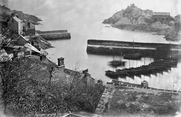 View of harbour, Polperro, Cornwall. Probably 1860s-1870s