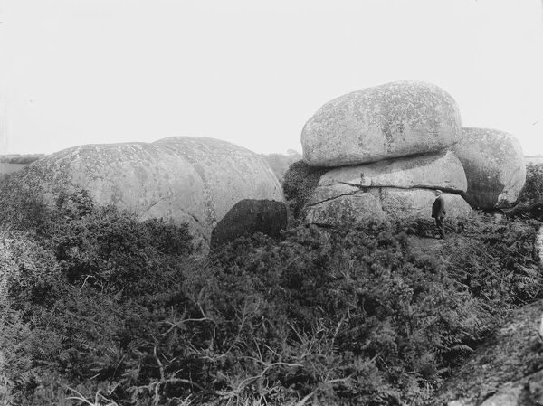 A view of huge granite boulders near Luxulyan Valley, Cornwall. 1909