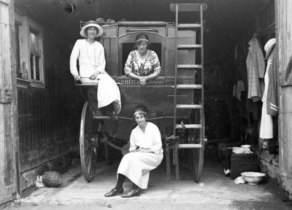 Women on the back of a coach, Perranporth, Cornwall. 1923