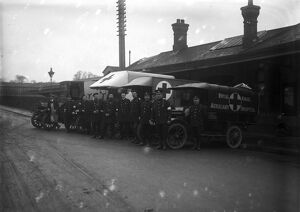 Ambulance crews, Truro railway station, Cornwall. Around Christmas 1917
