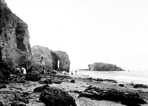 Arch and Chapel Rock (including Lion Rock), Perranporth, Cornwall. Early 1900s