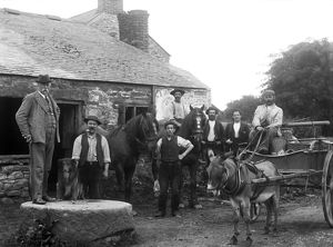 Blacksmith's shop at Godolphin Cross, Cornwall. Early 1900s