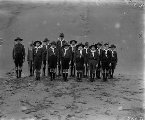 Boy Scouts, Perranporth beach, Cornwall. Early 1900s