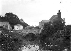 Calenick Bridge and river, Cornwall. Early 1900s