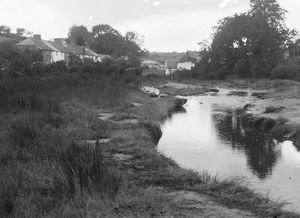 Calenick village from downstream, Cornwall. Early 1900s