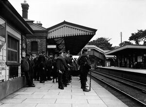Camborne Railway Station, Camborne, Cornwall. Early 1900s, possibly First World War