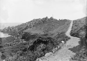 The cliffs and path Coverack, St Keverne, Cornwall. Early 1900s