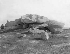 Cup-marked stones, Carn Brea, Illogan, Cornwall. Early 1900s