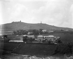 Distant view of Carn Brea, Illogan, Cornwall. 1920s