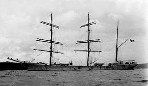 The French three-masted barque La Fontaine off Falmouth, Cornwall. July 1909
