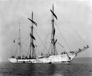 The French three-masted barque La Rochefoucauld off Falmouth, Cornwall. 1910
