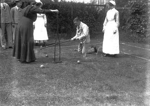 A game of croquet outside the Royal Cornwall Infirmary, Truro, Cornwall