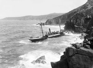 General view of the French SS Paknam wrecked at Pendeen, St Just in Penwith, Cornwall