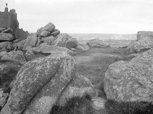 Granite outcrop on top of Carn Brea, Illogan, Cornwall. Early 1900s