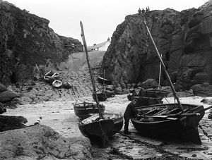 Bill Harvey with his fishing boat, Alpha, Porthgwarra, Cornwall. 1903