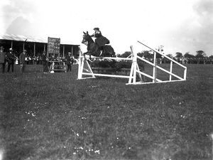 Horse jumping at the Royal Cornwall Show, Camborne, Cornwall. 1915