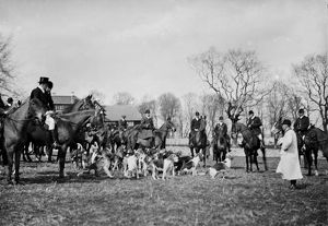 Hunt Meet at Roskrow House, Roskrow, St Gluvias, Cornwall. 1912
