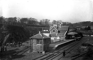 Laying gravel before the opening of Padstow railway station, Cornwall. Before March 1899